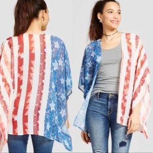 Xhilaration America Flag Pride Kimono